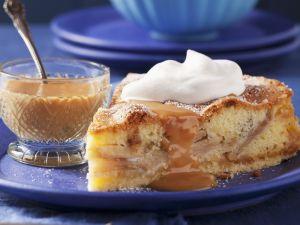Apple Cake with Marzipan and Caramel Sauce recipe