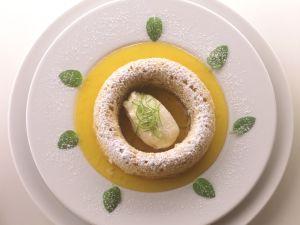 Apple Savarins with Passion Fruit Sauce and Quark Ice Cream recipe