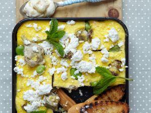 Artichoke Frittata with Ricotta and Fava Beans recipe