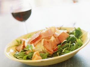 Arugula Salad with Radishes, Ham, Mozzarella and White Wine Vinaigrette recipe