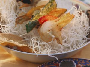 Asian Noodles with Vegetable Skewers recipe