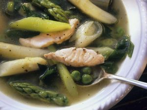 Asparagus Soup with Salmon recipe