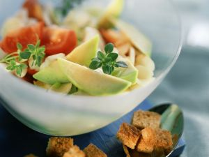 Avocado and Asparagus Salad with Croutons, Tomatoes and Thyme recipe