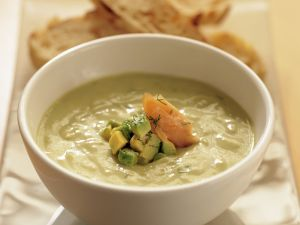 Avocado and Dill Soup with Smoked Trout recipe