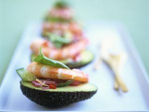 Avocado with Shrimp and Cucumber Salad recipe