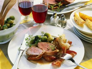Bacon Wrapped Beef Filet with with Brussels Sprouts and Roasted Potatoes recipe