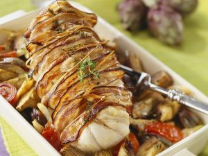 Bacon Wrapped Monkfish with Vegetables recipe