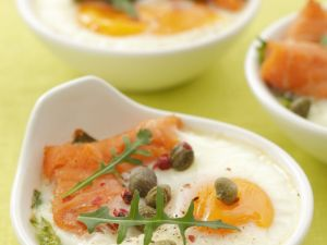 Baked Eggs with Salmon and Capers recipe