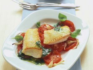 Baked Fish Fillets with Tomatoes and Herb Sauce recipe