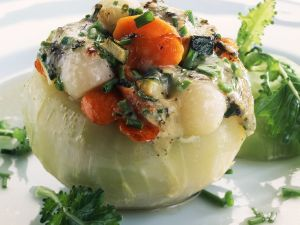 Baked Kohlrabi with Vegetable and Cheese Filling recipe