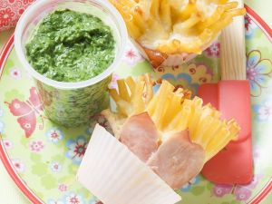 Baked Macaroni and Ham with Creamed Spinach recipe