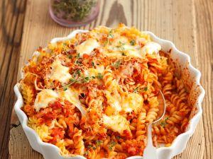 Baked Pasta Gratin with Tomato Sauce and Mozzarella recipe