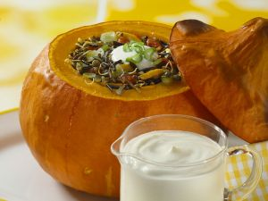 Baked Pumpkin with Vegetable Wild Rice Stuffing recipe