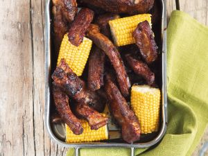 Grilled Ribs with Corn Cobs recipe