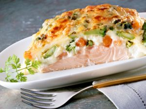 Baked Salmon Fillet with Vegetables recipe