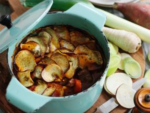 Baked Stew with Beef, Sweet Potatoes and Root Vegetables recipe