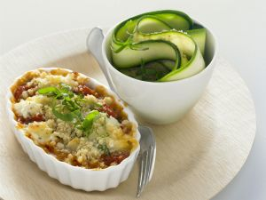 Baked Tomatoes with Goat Cheese and Zucchini Salad recipe