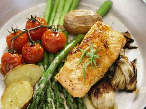 Baked Vegetables and Salmon recipe