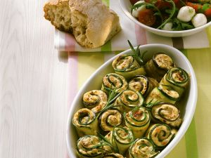 Baked Zucchini and Eggplant Rolls with Mozzarella and Tomato Salad recipe