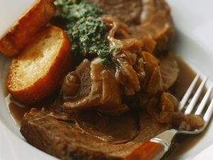 Beef Pot Roast with Onion Gravy and Green Sauce recipe