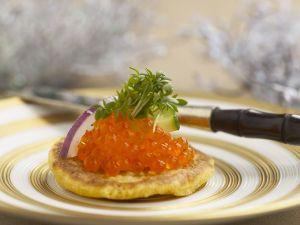 Blinis with Salmon Caviar recipe