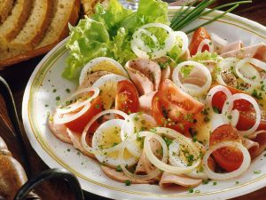 Bologna Sausage Salad with Eggs and Tomatoes recipe