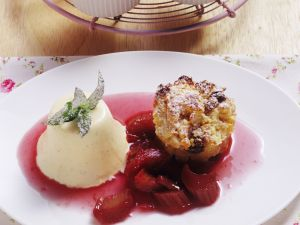 Bread Pudding with Rhubarb Compote and Semifreddo recipe