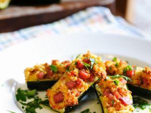 Breadcrumb and Tomato Zucchini Boats recipe