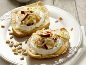 Camembert Crostini with Belgian Endive and Apple Salad recipe