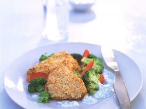 Cashew Crusted Turkey with Chervil-Yogurt Sauce recipe