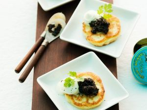 Cauliflower Pancakes with Caviar recipe