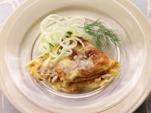 Cheese Crepes with Cucumber and Fennel Salad recipe