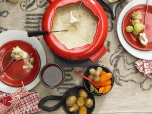 Cheese Fondue with Bread, Potatoes and Vegetables recipe