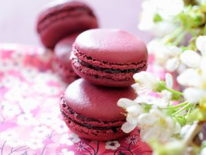 Cherry Macarons with Jam Filling recipe