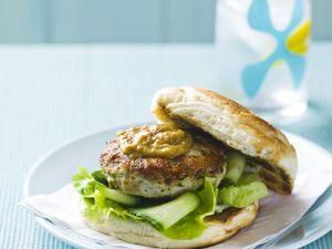 Chicken Burgers with Peanut Sauce recipe