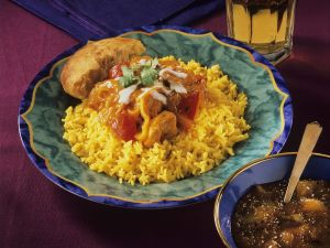 Chicken Curry with Rice and Mango Chutney recipe