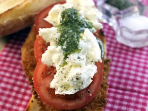 Chicken Cutlet with Tomato, Mozzarella, and Pesto recipe