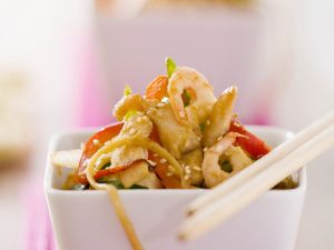 Chicken-Shrimp Salad with Noodles and Vegetables recipe