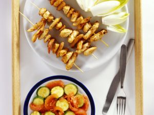 Chicken Skewers with Tomato and Zucchini Salad recipe