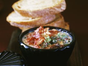 Chicken-Vegetable Soup with Ham and Pistachios recipe