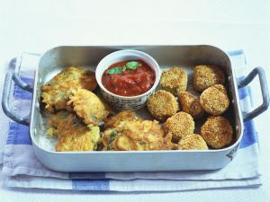Chickpea Fritters and Carrot and Spinach Fritters recipe