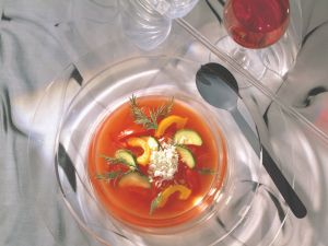 Chilled Tomato Consommé with Feta recipe