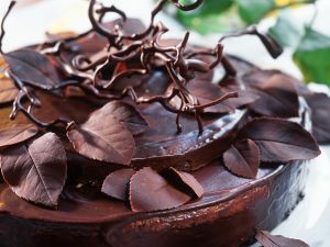 Chocolate Cake with Chocolate Leaves recipe