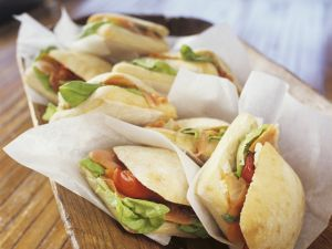 Ciabatta Rolls with Smoked Salmon, Tomatoes and Goat Cheese recipe