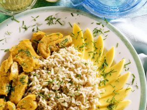 Coconut Chicken Curry with Rice and Mango recipe