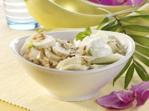 Coconut Muesli with Banana and Melon recipe