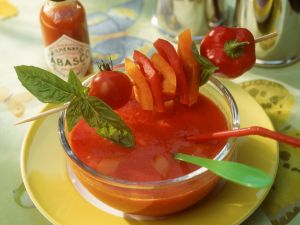 Chilled Tomato Bisque with Veggie Skewers recipe