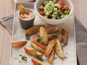 Country Potatoes with Vegetable Salad and Dip recipe