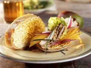 Cream Cheese, Grilled Chicken Breast, Mango and Curry Sandwiches recipe