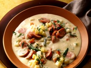 Creamy Potato Soup with Sausage and Vegetables recipe